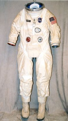 "This spacesuit was designed for and worn by Ed White during his historic ""walk in space"" in June 1965. The EVA was the first by an American astronaut and lasted approximately 21 minutes. The David Clark Company constructed the spacesuit and named it G-4-C. The G-4-C EVA suit was composed of 21 layers (including the cotton undergarment), as opposed to the 4 layers of the G-3-C suit."