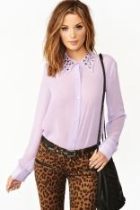 Triangle Studded Blouse - Lilac