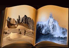 Анимация Раскрытая книга с двумя противоположностями на страницах, вода и пустыня