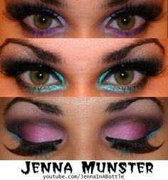 colorful makeup purple smokey eye teal turquoise jennainabottle