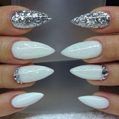 White / silver glitter with swarvoski crystals. Stilettos. - Nails ...