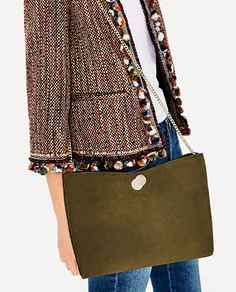 ZARA - WOMAN - NUBUCK CROSSBODY CLUTCH BAG