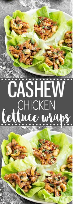 These Cashew Chicken Lettuce Wraps are perfect for lunch, dinner, or even as a tasty appetizer. Simple, easy and healthy. Each wrap has only 165 calories! #asian #chicken #lettucewraps #healthy #dinner