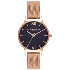Olivia Burton Midi Midnight Dial Mesh Watch - Rose Gold (£90) ❤ liked on Polyvore featuring jewelry, watches, rose gold, pink gold watches, rose watches, olivia burton, rose gold wrist watch and rose jewelry