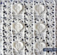 Crochet Textured Heart stitchDiagram + step by step instructions. -MyPicot | Free crochet patterns