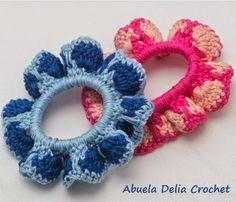 Gomitas para el cabello con volado en Crochet
