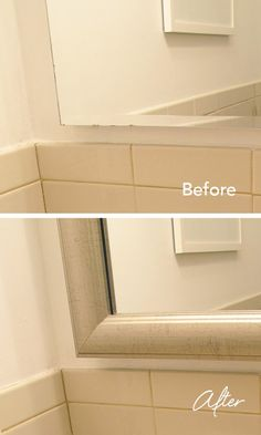 Before and after: Add a MirrorMate frame to the medicine cabinet and cover desilvering edges.