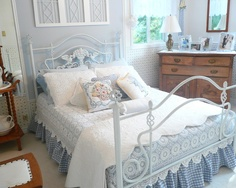 White And Blue Bedroom Design, Pictures, Remodel, Decor and Ideas Romantic Bedroom Design, Country Bedroom Design, French Country Bedrooms, Country French, Bedroom Designs, Blue Bedroom, Dream Bedroom, Bedroom Decor, Pretty Bedroom