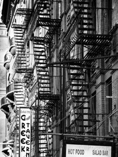 Stairways Fire Escapes Black and White Photography Street: Times Square, Manhattan New York, US
