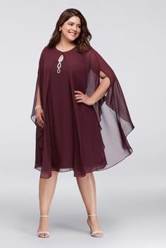 Tea Length Sheath Long Sleeves Cocktail and Party Dress - SL Fashions Cocktail Dresses With Sleeves, V Neck Cocktail Dress, Plus Size Cocktail Dresses, Plus Size Dresses, Simple Dresses, Sexy Dresses, Dress Outfits, Evening Dresses, Fashion Dresses