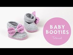 Croby Patterns |   Free Pattern: Crochet Baby Booties Lavender Bow Tie