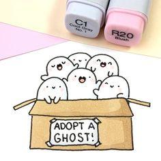 Adopt a Ghost! 👻📦💖✨ • • #spookymccute #kawaii #doodle #ghost #ghostplushie #plushie Diy Kawaii, Kawaii Art, Cute Kawaii Drawings, Kawaii Doodles, Cute Doodles, Cute Doodle Art, Doodle Drawings, Easy Drawings, Ghost Drawings