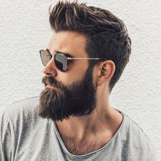 Hipster faux hawk with beard and glasses