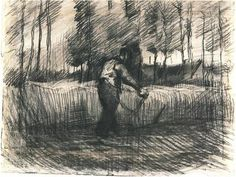 Vincent van Gogh Wheat Field with Trees and Mower Drawing