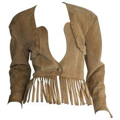 Preowned Vintage Jean Claude Jitrois Haute Couture Numbered Suede Tan... ($850) ❤ liked on Polyvore featuring outerwear, jackets, coats, tops, coats & jackets, brown, brown fringe jacket, vintage suede jacket, tan suede jacket and brown suede fringe jacket