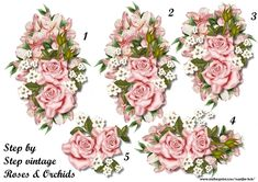 Step By Step Vintage Roses   Orchids on Craftsuprint designed by Marijke Kok - Beautiful decoupage with vintage roses and orchids - Now available for download!