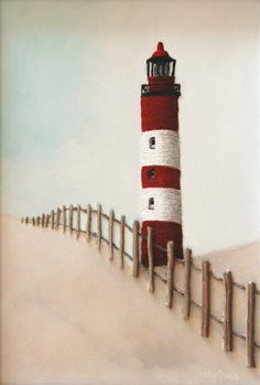 Red Lighthouse Painting – Stripy Beach Lighthouse with Picket Fence String Art – Made to Order
