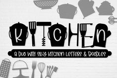 Kitchen - Font Duo of Silly Kitchen Letters & Doodles Free Dingbat Fonts, Kitchen Letters, Cool Fonts, Awesome Fonts, Geometric Font, Handwriting Alphabet, Signature Fonts, Vintage Fonts, Script Logo