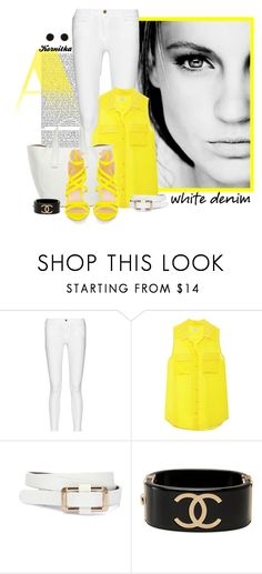 """nr 1292 / Bright White: Summer Denim"" by kornitka ❤ liked on Polyvore featuring GE, Frame, Equipment, Chanel, Humble Chic and whitejeans"