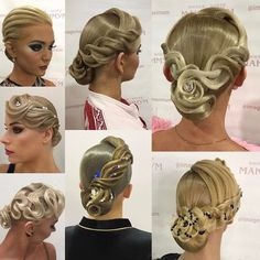 Hair by Kristina Shinkariuk Dance Hairstyles, Work Hairstyles, Braided Hairstyles, Wedding Hairstyles, Wedding Updo, Dance Competition Hair, Ballroom Dance Hair, Bleached Hair Repair, Shaved Hair Designs