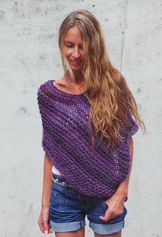 purple poncho / women's purple poncho cape / loose knit от ileaiye