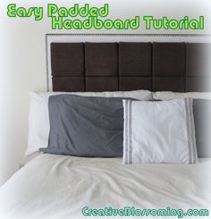 DIY Easy Padded Floating Headboard Tutorial with foamboard, plywood, fabric, foam padding, upholstery nails
