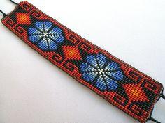 Mexican Huichol Loom Beaded Peyote Bracelet by Aramara on Etsy Loom Bracelet Patterns, Seed Bead Patterns, Bead Loom Bracelets, Peyote Patterns, Beading Patterns, Loom Flowers, Beaded Banners, Peyote Beading, Arm Candies