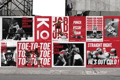 Knockout - Boxing club—A new visual identity was designed for the Knockout Boxing Club. The dynamic and powerful graphic system makes Knock… Nike Poster, Poster Wall, Sports Graphic Design, Graphic Design Posters, Typography Layout, Typography Poster, Layout Inspiration, Graphic Design Inspiration, Boxing Club