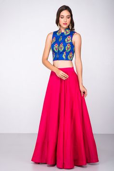 137d038deea1b ANISHA SHETTY Electric Blue Embroidered Crop Top With Coral Skirt