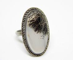 Аnello con agata dendritica. anello con paesaggio di HELGASHOP su Etsy