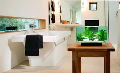 Inspirational bathroom design: Fluval Edge Aquarium 23L in elegant designed bathroom.