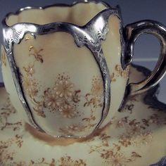 Antique Burslem Doulton w/ Gorham Sterling Silver Overlay Cup Saucer