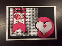 Valentijnskaart met Stampin'up   Big heartpunch, thinlits bannerframes, stempelset 'hey valentine' en Blendabilities.