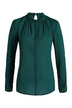 Esprit / Chiffon-Bluse mit Zierknöpfen