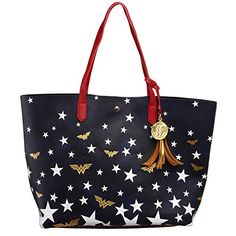 Buy DC Comics Wonder Woman Logo Stars Oversized Tote Bag Purse - and find your ideal Women Totes at affordable prices and fast shipping. Wonder Woman Superhero, Dc Comics, Superhero Gifts, Wonder Woman Logo, Geek Gifts, Leather Tassel, Cowhide Leather, Tote Purse, Crossbody Bag