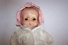 "Antique HORSEMAN JEANIE Composition Cloth Baby Doll 14"" For Restoration Repair #Horsman #Dolls"