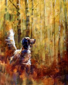 Setter in the woods Hunting Art, Hunting Dogs, Hunting Birds, Grouse Hunting, Cool Wall Art, Irish Setter, Dog Paintings, Watercolor Animals, Wildlife Art