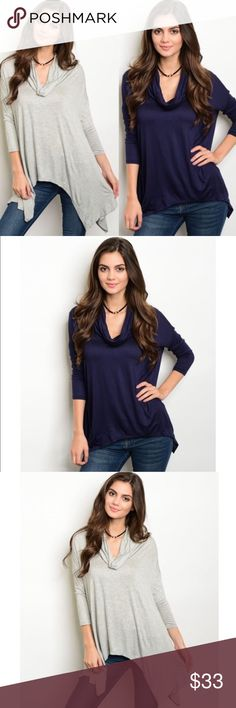 🎉1 HR SALE🎉 Solid Cowl Neck Top 3/4 sleeve. Super soft! 95% rayon 5% spandex. Tops