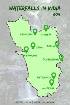 Waterfalls in Goa, India - Map