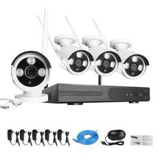 Self-Contained 720P 4CH Smart Home Plug and Play Wireless Outdoor Security IP Camera System