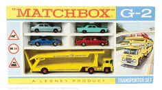 "Matchbox Regular Wheels Gift Set No.G2 ""Transporter"" comprising of Kingsize No.K8 Guy Warrior Car Transporter ""Farnborough Measham Car Auction Collection"" - No.14D Iso Grifo - No.24C Rolls Royce Silver Shadow - No.31C Lincoln Continental - No.53C Ford Zodiac"