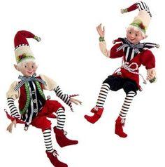 "16"" Posable Elf Christmas Decorations - set of 2 Raz Exclusive!"