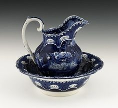 Historical blue Staffordshire States pitcher and Basin