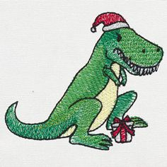 Oh no! Rex's arms are too short to open his Christmas gifts! Use this comical design to stitch onto stockings, pillows and more.