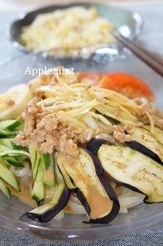 栄養満点!夏野菜のトマト豆乳クリーム冷やしうどん。