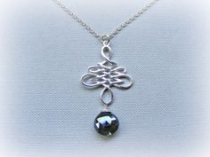 Black sapphire necklace, necklace sapphire silver, September birthstone, sapphire jewellery, September birthday gift, sapphire solitaire by TheAmberSunflower on Etsy https://www.etsy.com/listing/457514836/black-sapphire-necklace-necklace