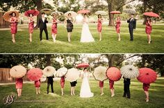 love this for the photo idea and as the gift for the bridesmaids - don't we all want an awesome umbrealla
