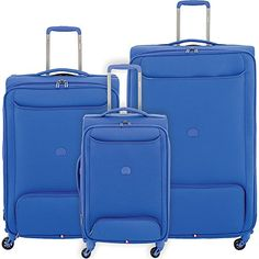 Delsey Chatillon 3 Piece Lightweight Spinner Luggage Set Blue *** Want additional info? Click on the image.