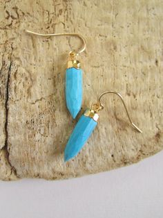 Blue Turquoise Spike Earrings 14K Gold Fill by julianneblumlo, $48.00