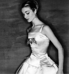 """Elsa Martinelli in a design by Dior called """"Zemire"""", photo by Clifford Coffin, Paris, UK, U.S. and French Vogue, Sept. 1954"""